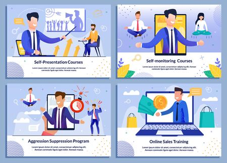 Business Professional Sales Training, Self-Monitoring Courses, Aggression Suppression Advert. Flat Banner Set. Cartoon Male Seminar Speaker Character Giving Presentation Online. Vector Illustration Иллюстрация