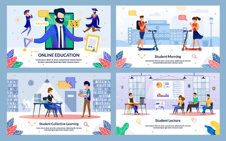 Set Student Collective Learning, Online Education. Banner Inscription Student Lecture, Student Morning. Pupils Students are Sitting Spacious Room and Listening to Teacher, Wall is Diagram.