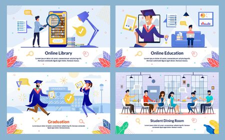 Flat Online Library, Online Education, Cartoon. Set Graduation, Student Dining Room. Guy Holds Magnifier and Looks at Books. Guy Sits with Laptop in his Hands at Home and Studies Remotely.