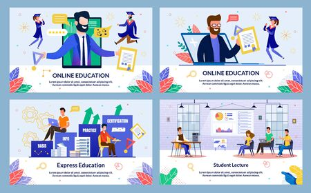 Set Vector Illustration Online Education, Flat. Student Lecture, Express Education Slide. Guy Sits on Inscriptions Basis and Info, next to Inscription Practice and Certificate, Cartoon. Иллюстрация