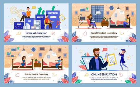 Banner Written Express Education, Online Education. Female Student Dormitory. Guys Sit Boxes with Inscriptions and Study Accelerated Program. Man from Laptop Screen Shows Diploma to Student. 向量圖像