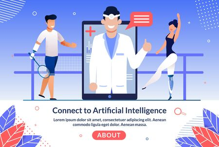 Artificial Intelligence Technologies for Disabled People Trendy Flat Vector Web Banner, Landing Page Template. Injured Tennis Player and Ballerina with Robotized Leg, Hand Prosthesis Illustration