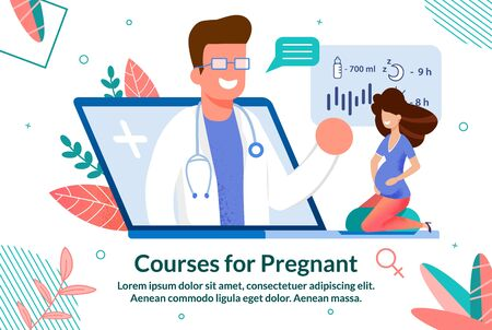 Online Courses for Pregnant Woman Trendy Flat Vector Advertising Banner, Promo Poster Template with Waiting for Childbirth Lady Taking Doctors Consultation in Internet, Watching Video Illustration