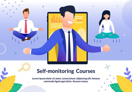 Self-Monitoring Courses, Self-Control Seminar, Consciousness and Willpower Online Training Trendy Flat Vector Advertising Banner, Promo Poster. Psychological Coach Teaching Employee Illustration
