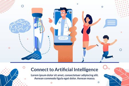 Modern Artificial Intelligence Technologies in Medicine Trendy Flat Vector Advertising Banner, Promo Poster. Disabled Woman and Boy Happy Because Their New Ai Robotized Leg Prosthesis Illustration Ilustrace