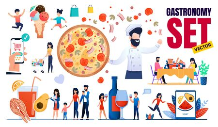 Food Ingredients Gastronomy Set Vector. Raw, Fastfood, Sweets, Meat Products Design. Diet Menu, Proper Nutrition. Cartoon Happy People Characters. Phone Application for Order Meal. Flat Illustration Foto de archivo - 134436980