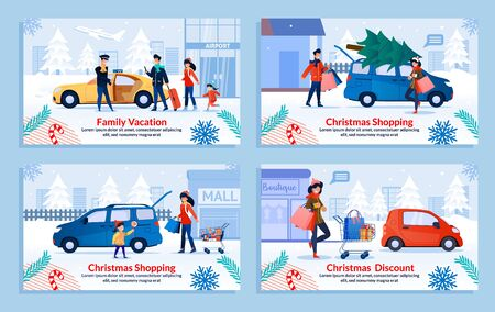 Family Spending Winter Holidays Flat Banner Set. Cartoon Poster with Happy Parents and Children, Married Couple and Lonely Lady Buying Xmas Gifts and Fir Tree, Travelling. Vector Illustration