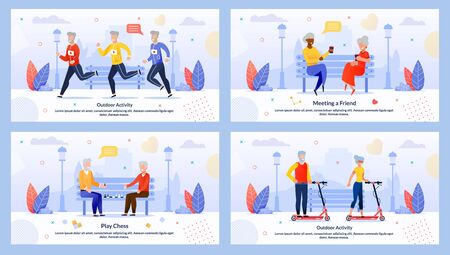 Mature People Characters Rest Motivate Flat Banner Set. Senior Men and Aged Women Jogging or Running Marathon, Riding Scooter, Meeting Friends, Playing Chess in Park. Vector Cartoon Illustration