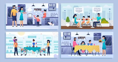 Bundle Banner, Set Landing Web Page Family Time. Vector Illustration Happy Mother, Father, Daughter, Son, Dog Spend Time Together Weekend. Cook Food, Shopping, Celebrate Holiday Home, Cafe