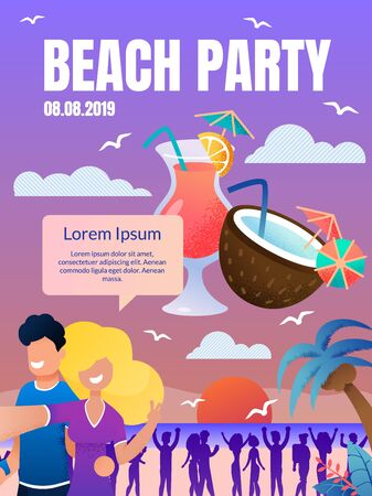 Vector Flyer Summer Beach Party Landing Web Page. Website, Banner, Poster, Illustration Dance Beach Party. Guy and Girl Taking Selfie Background Dancing People, Coconut, Cocktail, Sunset, Malma