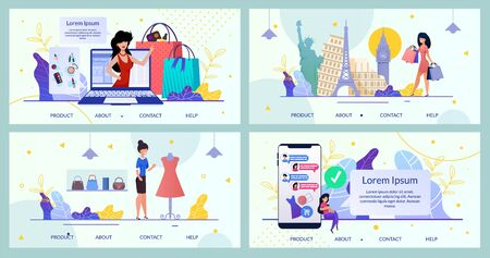 Bundle Landing Page Mobile App Online Brand Store. Set Vector Mobile Application Template. Girl, Online Consultant Customer Help Shopping, Bag, Clothes, Dress, Cosmetic, Perfume, World Landmarks