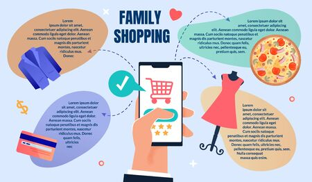 Flat Flyer Online Ordering and Family Shopping. Closeup Male Hand in Suit Holds Smartphone. On Phone Screen is an Application for Buying Online Clothing and Food. Vector Illustration.