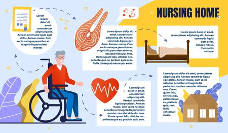 Informative Banner, Inscription Nursing Home. Man in Casual Clothes is Sitting Wheelchair. Infographics Healthy Quality Care for People with Disabilities Cartoon. Vector Illustration.