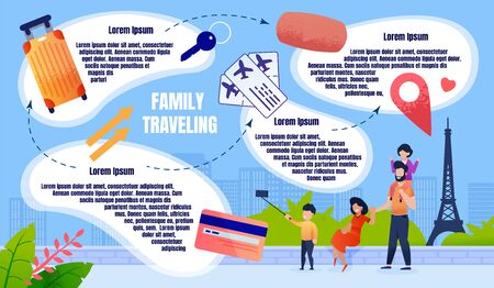 Banner Vacation with Children Europe, Travelling. Happy Parents with Children Take Selfies Amid Attractions and Fun. Family Vacation in another Country Brings Joy. Vector Illustration.