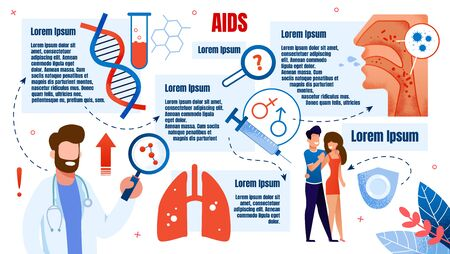 Flat Banner Medical Research, is Written Aids. Male Doctor in White Coat Holds Magnifier. Infographic about Aids. Guy with Girl Cuddling. In Vitro Blood and Dna Helix. Vector Illustration.