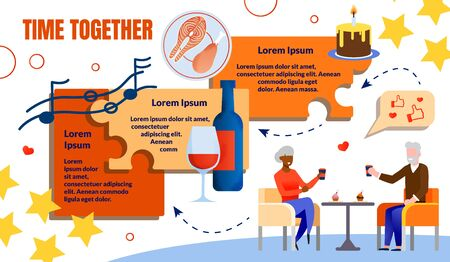 Informational Flyer Inscription Time Together. Elderly Man and Woman Sit Together at Table and Drink Coffee with Cake on Background Bottle Wine and Glass Cartoon. Vector Illustration.