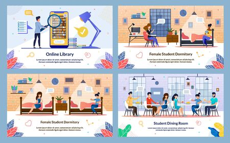 Banner Inscription, Student Dining Room, Slide. Set Vector Illustration Online Library, Female Student Dormitory. Girls are Sitting on their Beds Dormitory in Evening and have Fun Talking.