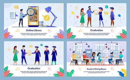 Illustration Graduation, Student Dining Room. Set Online Library. Students Uniform Accept Congratulations from Man in Suit Holding Diploma and Woman with an Insignia. Guy Holds Magnifier.