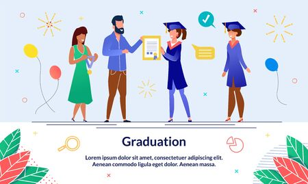 Banner Solemn Event, Graduation at University. Solemn Presentation University Graduation Documents. Woman Dress Holds Medal, next to Man with Diploma. Students are Waiting for Graduation. Ilustração