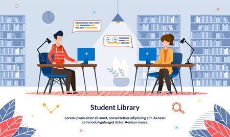 Bright Illustration Student Library at University. Guy and Girl are Sitting Public Library at Table with Laptops and Taking Notes, Slide. Library Interior with Bookshelves, Cartoon.