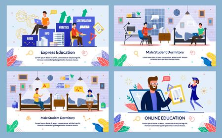Male Student Dormitory, Online Education, Flat. Express Education. Guys Evening Sit on Chairs and Beds Male Dormitory and Work on Laptops. Girl Happy to Graduate. Vector Illustration.