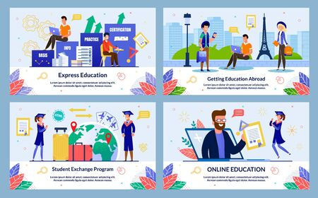Set Student Exchange Program, Vector Illustration. Online Education, Getting Education Abroad, Express Education. Guy and Girl Stand Street European City against Background Historical Landmark.