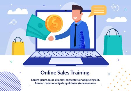 Online Sales Business Training, Seminar or Lecture Trendy Flat Vector Advertising Banner, Promo Poster Template. Successful Businessman Offers to Buy Online Course Videos to Improve Sales Illustration 向量圖像