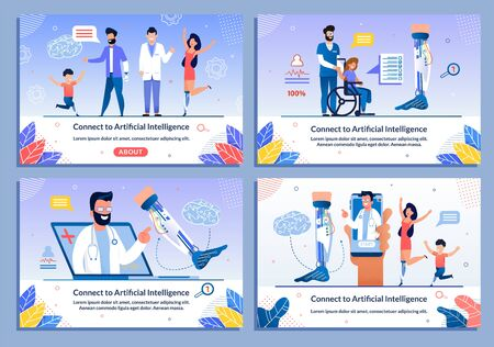 Doctor and Disabled Patient Character Banner Set. Artificial Intelligence Connection. Bionic Prostheses Body Parts. Online Support for Handicapped Adults and Children after Injure. Vector Illustration
