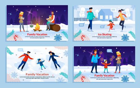 Happy Family Vacation. Recreation Outdoor. Cartoon Parents and Children Rest and Having Picnic in Winter Park. New Year Celebration. Ice Skating Together. Banner Flat Set. Vector Illustration Foto de archivo - 134876552