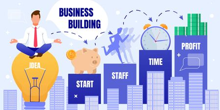 Informative Banner Inscription Business Building. Stages from Start, Professional Staff, Investing Time and Making Profit. Man in Suit Meditates Sitting on Big Light Bulb, Inside Inscription Idea.