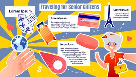 Informational Banner Traveling for Senior Sitizens. Stylish Woman Travels alone and Takes Selfie on Background Attractions. Hand Shows Globe, Suitcase and Tickets. Vector Illustration.