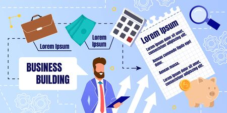 Prompt Banner Preparation for Business Building. Bearded Man in Suit Holds Folder and Smiles. Items for Financial Success. Cash Accumulation. Development Plan for Acquiring Profits.