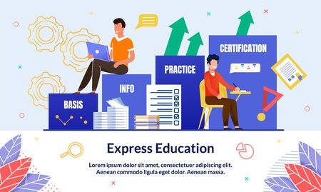 Illustration Inscription Express Education, Slide. Guy in Casual Clothes Sits at Table and Writes, next to Step Leading to Education. Guy is Sitting on Steps with Laptop and Smiling.