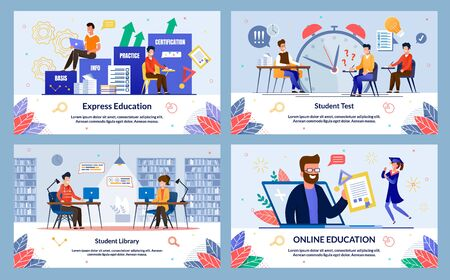 Set Express Education, Student Library, Cartoon. Banner Inscription Student Test, Online Education. Male Teacher Conducts Test among Students and Exclaims with Surprise in Classroom. Ilustração