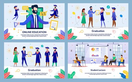 Vector Illustration Online Education, Graduation. Set Student Lecture. Administration Institution Solemnly Presents Diploma and Medal to Graduate Students. Students Listen to Lecturer. Ilustracja