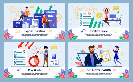 Set Banner, Written Excellent Grade, Cartoon. Online Education, Poor Grade, Express Education. Guy in Casual Clothes Angry Holding Sheet with Poor Grade, Bomb Explodes Nearby, Slide.