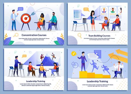 Concentration Training, Leadership and Team Building Courses for Business People. Successful Motivational Management. Strategic Education. Vector Flat Illustration. Cartoon Banner Set