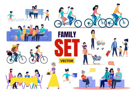 Happy Family Relatives Characters Vector Flat Set. Cartoon Parents and Children, Grandparents and Grandchildren Rest, Meeting, Talking, Having Fun, Shopping, Cycling. Vector Illustration Ilustrace