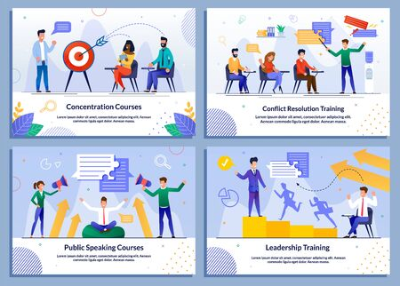 Educational Program. Coaching Businessmen Personal Growth. Company Development Training. Effective Leadership and Management Lectures and Online Courses. Banner Flat Set. Vector Cartoon Illustration