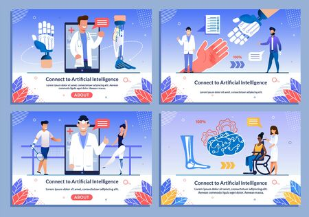 Medical Specialist Doctors in Uniform Offer AI Bionic Prostheses for Disabled People Flat Banner Set. Web Page for Application Supporting, Consulting Handicapped Person. Vector Cartoon Illustration Illusztráció