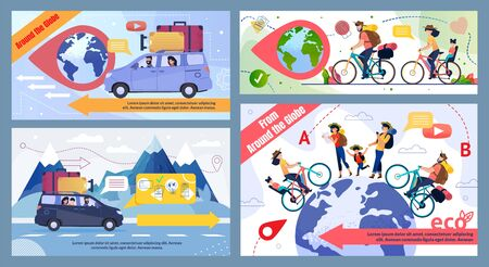 Bicycle and Car Family Trip round Globe Promo Banner Set. Eco Tour for Cyclists, in Mountains, to Foreign Countries. Cartoon Happy Travelers Characters. Eco-Friendly Tourism. Vector Illustration