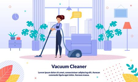 House, Apartment or Office Cleaning Service Trendy Vector Advertising Banner, Promo Poster Template. Female Worker in Overall, Hotel Attendant Cleaning Room Floor with Vacuum Cleaner Illustration
