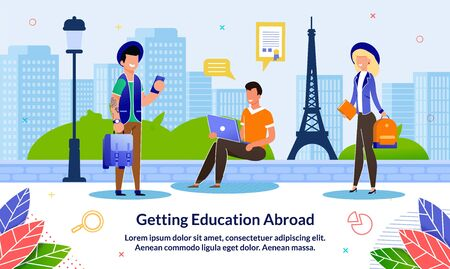 Flat Banner Getting Education Abroad, Cartoon. Guy is Sitting with Laptop his Hands on Sidewalk against Backdrop Cultural Landmark. Guy and Girl with Suitcases are Standing on Street. 일러스트