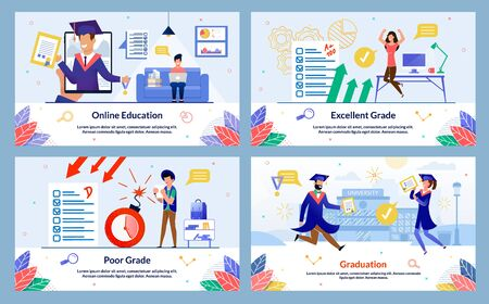 Banner Inscription Online Education, Poor Grade. Excellent Grade, Graduation. Guy Sitting on Couch and Working Laptop, on Smartphone Screen Graduate Uniform Shows Diploma and Smiles.