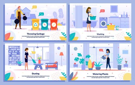 Housekeeping and Cleaning Works, Hotel Attendant Service Trendy Flat Vector Ad Banners, Posters Set. Worker Throwing Garbage, Maid Dusting, Housewife Washing Clothes, Watering Plants Illustration Illusztráció