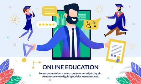 Online Education, Modern Profession, Cartoon. On Screen an Electronic Device, Bearded Man Suit Holds Diploma and Medal Graduation. Nearby Students Rejoice and Triumph. Vector Illustration.