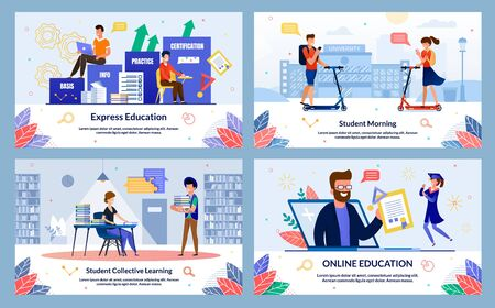 Banner Inscription Student Collective Learning. Set Express Education, Student Morning, Online Education. Girl and Guy Students are Preparing Together for Classes Library. Vector Illustration.