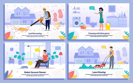 House Cleaning Jobs and Modern Technologies Trendy Flat Vector Banners, Posters Set. Worker Removing Leaves, Mowing Lawn, Woman Cleaning Bathroom with Detergents, Robot Vacuum Cleaner Illustration