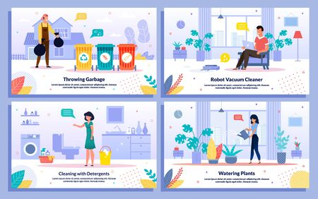 Home Waste Utilization, Robotic Cleaning, Indoor Plants Care, Bathroom Cleaning Trendy Flat Vector Banners, Posters Set. Female, Male People Characters Cleanup Their Houses and Apartments Illustration Illusztráció