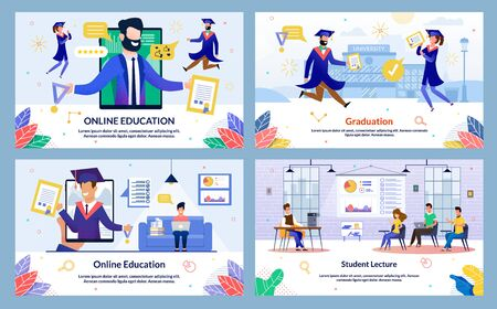 Flat Illustration Graduation, Student Lecture. Set Online Education. Students in Graduation Gowns Rejoice at Graduation. Male Lecturer Discusses Topic Lesson with Students, Cartoon.
